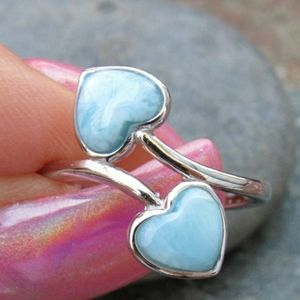 Larimar hearts sterling silver ring